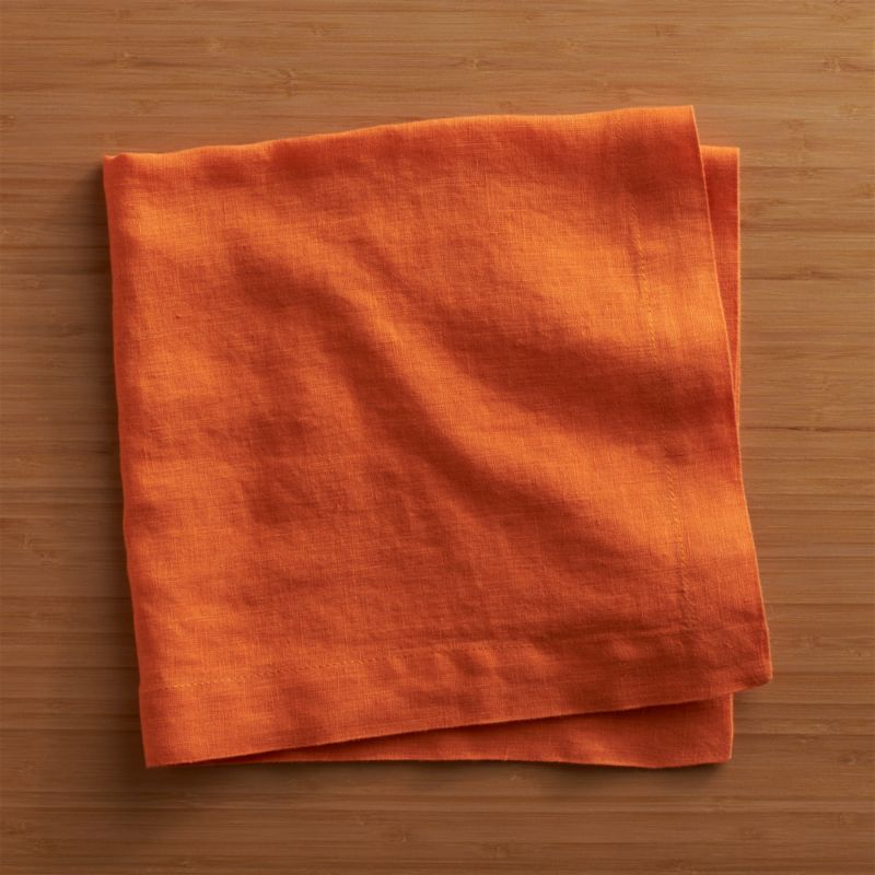 "Lightweight 100% linen napkin unfolds to a generous 22"" square in beautifully vibrant hues, pre-washed for extra softness. Tailor finished with a 1.5"" hem and mitered corners.<br /><br /><NEWTAG/><ul><li>100% linen</li><li>Machine wash separately in cold water, dry flat</li><li>Do not iron or bleach</li><li>Made in India</li></ul>"