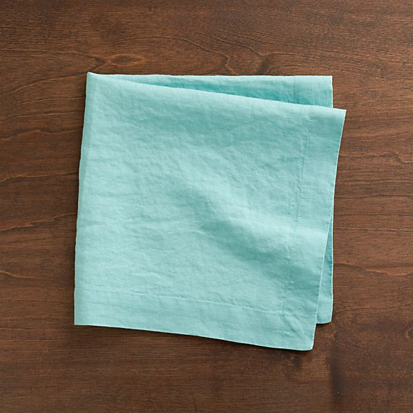 Set of 8 Helena Aqua Linen Napkins