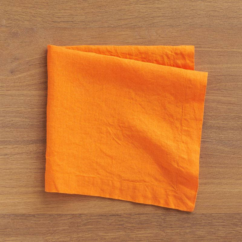 """Lightweight 100% linen napkin unfolds to a generous 22"""" square in beautifully vibrant hues, pre-washed for extra softness. Tailor finished with a 1.5"""" hem and mitered corners.<br /><br /><NEWTAG/><ul><li>100% linen</li><li>Dry clean or machine wash cold separately on gentle cycle, do not bleach</li><li>Tumble dry low</li><li>Warm iron as needed</li><li>Made in India</li></ul>"""