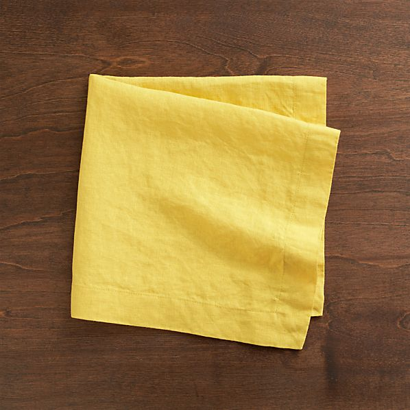 Set of 4 Helena Mustard Linen Napkins