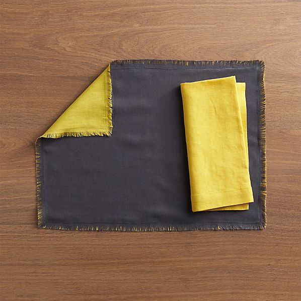 Helena Mustard-Graphite Reversible Placemat and Ceres Napkin