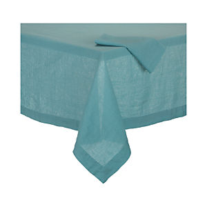 Helena Aqua Tablecloth and Helena Aqua Linen Napkin