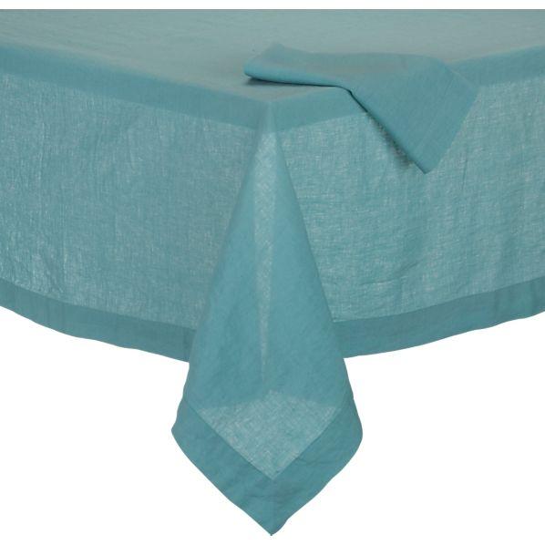 Helena Aqua Tablecloth and Helena Aqua Linen Napkin