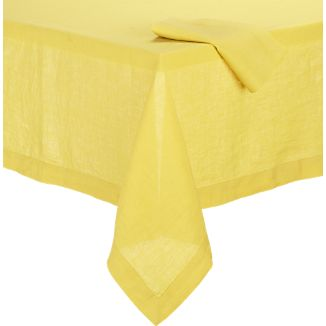 Helena Mustard Tablecloth and Helena Mustard Linen Napkin
