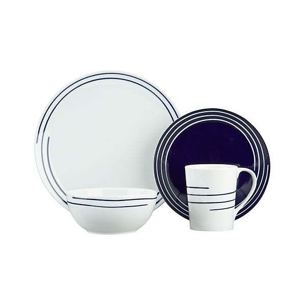 Helix 4-Piece Place Setting with Blue Salad Plate