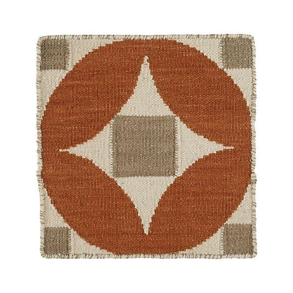 "Henny Orange Wool-Blend 12"" sq. Rug Swatch"