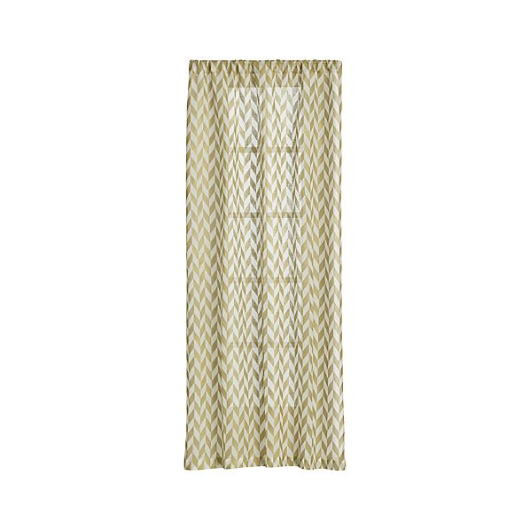 Herringbone Gold Sheer Curtain Panels