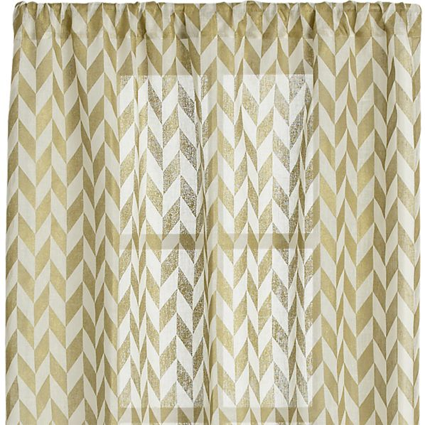 Herringbone Gold Sheer 48x96 Curtain Panel