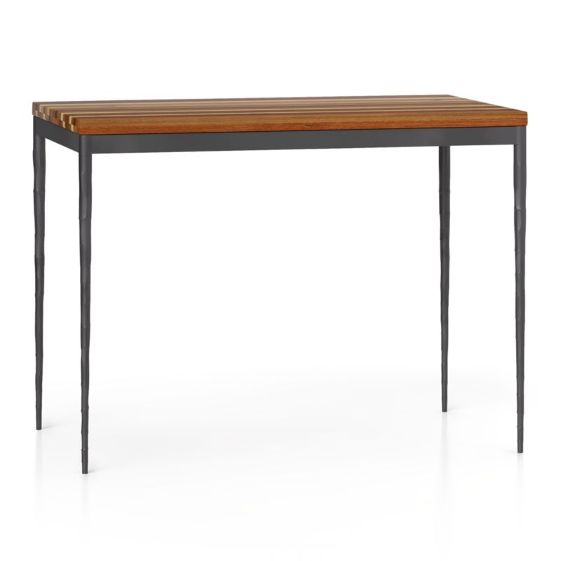 Reclaimed Wood Top Hammered Base 48x28 High Dining Table In Dining Tables