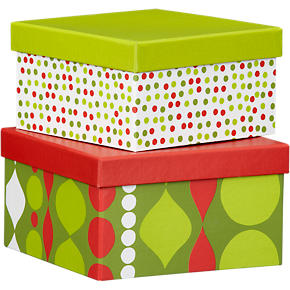 Holiday Boxes with Lids Set of Two