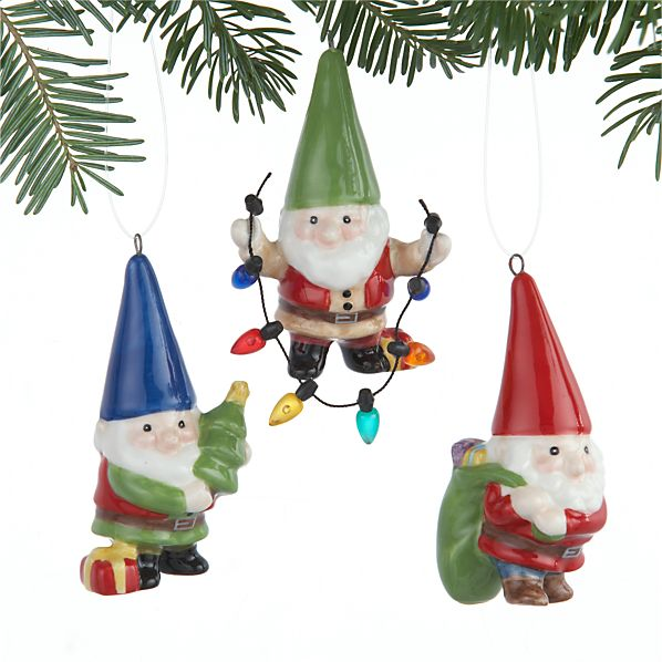 Set of 3 Holiday Gnome Ornaments