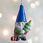 ceramic gnome ornament with blue hat