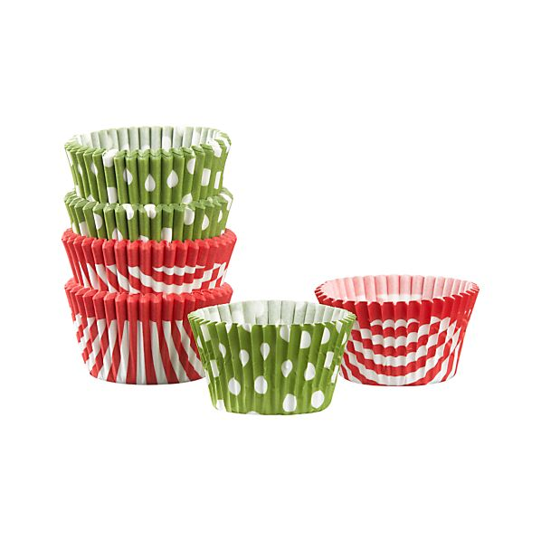Set of 100 Holiday Mini Cupcake Papers