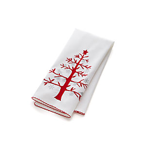 Holiday Tree Embroidered Dish Towel