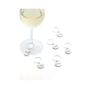 Holiday Word Wine Charms Set of Six