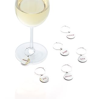 Set of 6 Holiday Word Wine Charms