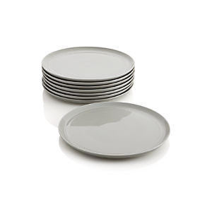 Set of 8 Hue Light Grey Dinner Plates