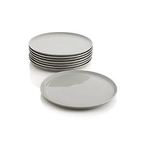 Set of 8 Hue Light Grey Dinner Plates
