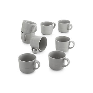 Set of 8 Hue Light Grey Mugs