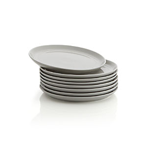 Set of 8 Hue Light Grey Salad Plates