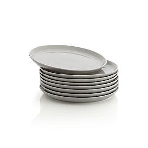 Set of 8 Hue Light Grey Salad Plates