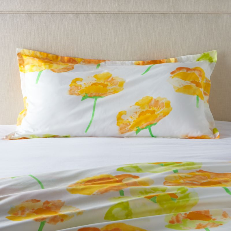 "Orange and citron poppies bloom outsize and ethereal on crisp white cotton percale, rendered in watercolor washes and artful brushstrokes. Designed by Fujiwo Ishimoto this exuberant pattern is an outstanding example of the designer's abstract perspective on nature's beauty. Shams have a 1"" flange and overlapping closure on the back. Bed pillows also available.<br /><br /><NEWTAG/><ul><li>Designed by Fujiwo Ishimoto</li><li>100% cotton percale</li><li>300-thread count</li><li>1"" flange</li><li>Overlapping back closure</li><li>Machine wash cold; tumble dry low; warm iron as needed</li><li>Made in Pakistan</li></ul>"