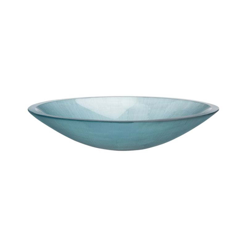 Saucer of translucent cerulean blue glass soap dish shimmers seaside color and artisan craftsmanship, delicately textured with fine hand-carved fine lines.<br /><br /><NEWTAG/><ul><li>Handcrafted</li><li>Glass</li><li>Wipe clean with damp cloth</li><li>Made in India</li></ul>