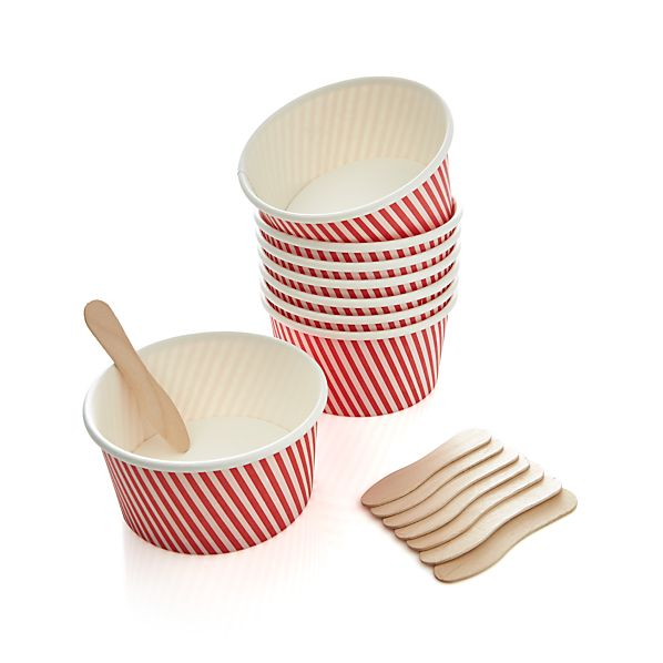 Set of 8 Paper Ice Cream Cups
