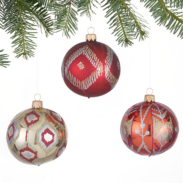 Set of 3 Ikat Red and Berry and Orange Ball Ornaments