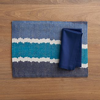 Ikat Blue Stripe Placemat and Fete Blue Cotton Napkin