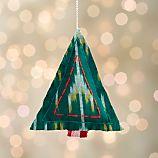 Ikat Stitched Green Christmas Tree Ornament