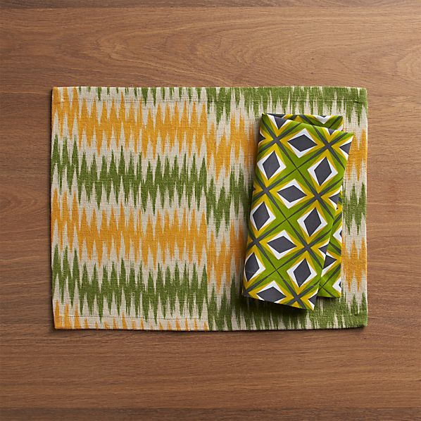 Ikat Ziggy Placemat and Jest Napkin