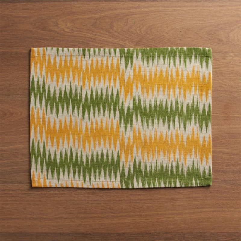 Artisan zigzags in yellow and green add vibrant color to traditional ikat patterning, handwoven of rustic jute and soft cotton yarns.<br /><br /><NEWTAG/><ul><li>Handcrafted</li><li>65% jute and 35% cotton</li><li>Machine wash cold, line dry; hot iron as needed</li><li>Oversized to allow for shrinkage</li><li>Made in India</li></ul>