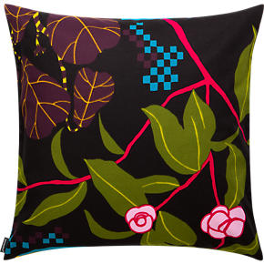 Marimekko Ikkunaprinssi Black and Green 20 Pillow