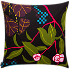 "Marimekko Ikkunaprinssi Black and Green Pillow. 20"" sq."