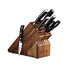 "Wüsthof® Classic Ikon 7-Piece Acacia Knife Block Set: 3.5"" paring knife, 6"" utility knife, 8"" cook's knife, 8"" bread knife, kitchen shears, sharpening steel and acacia knife block."