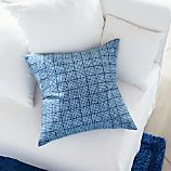 "Indigo Block Printed 23"" Pillow with Feather Insert"