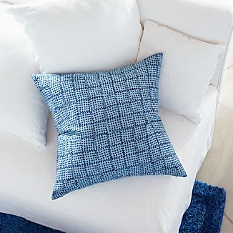 "Indigo Block Printed 23"" Pillow"