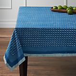 "Indigo Block Print 60""x120"" Tablecloth"
