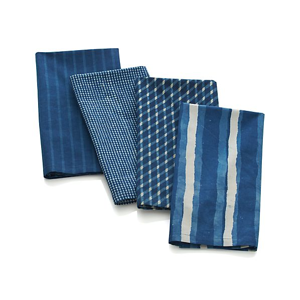 Set of 4 Indigo Block Print Napkins