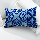 "Indigo Velvet 20""x13"" Pillow with Feather-Down Insert"