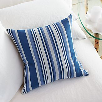 "Indigo Yarn-Dyed 16"" Pillow with Down-Alternative Insert"