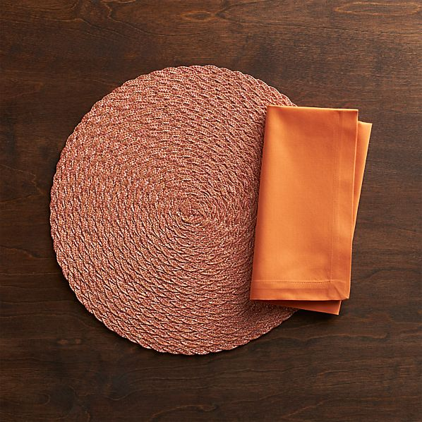Iraya Orange Placemat and Fete Pumpkin Cotton Napkin