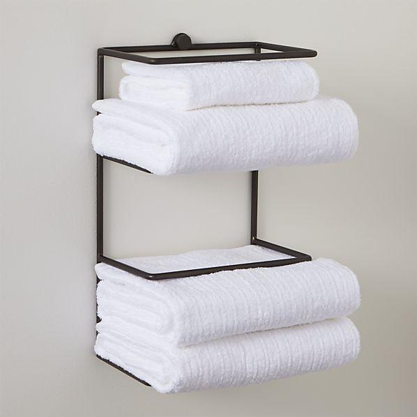 Simple Wall Mounted Antique Bronze Bathroom Towel Shelf Towel Rack Holder