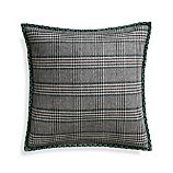 "Jade Plaid 20"" Pillow with Feather Insert"