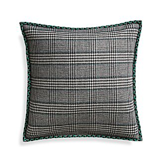 "Jade Plaid 20"" Pillow with Down-Alternative Insert"