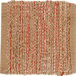 "Jarvis Coral Orange Jute-Blend 12"" sq. Rug Swatch"