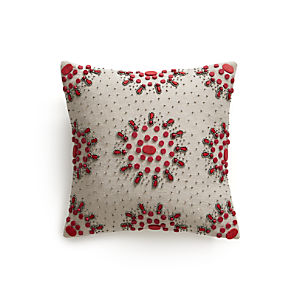 "Jewel Berry 12"" Pillow with Down-Alternative Insert."