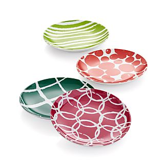 Set of 4 Jingle Appetizer Plates
