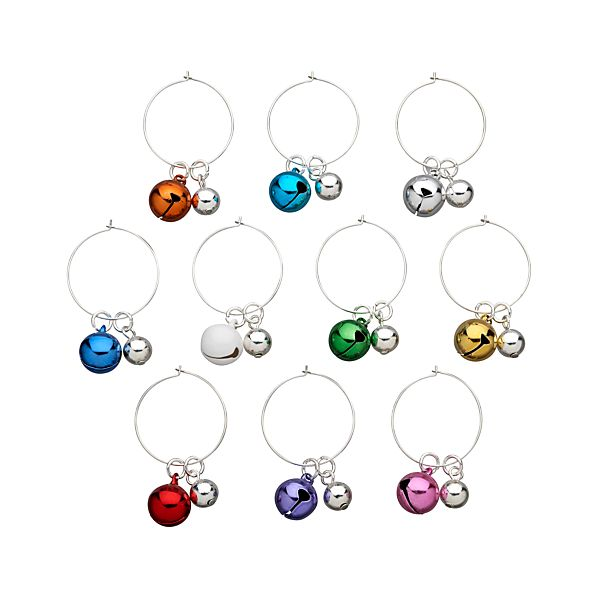 Jingle Bell Wine Charms Set of 10